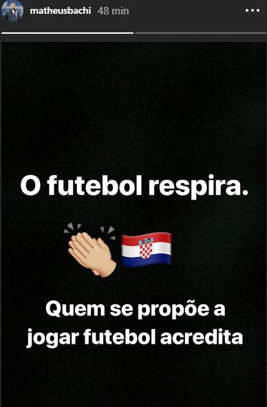 Matheus Bachi, filho de Tite, festeja Croácia na final no Instagram