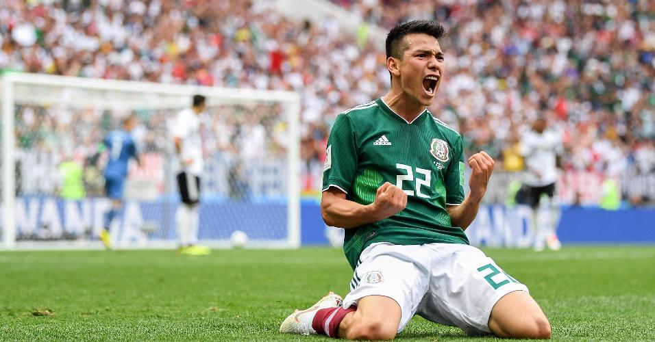 Hirving Lozano comemora gol marcado pelo México contra a Alemanha