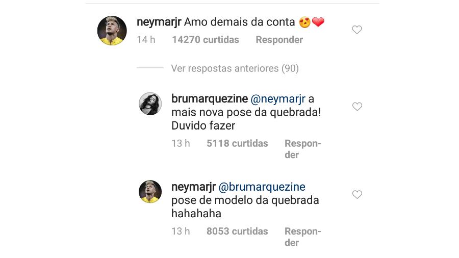 Neymar comenta em foto de Bruna Marquezine