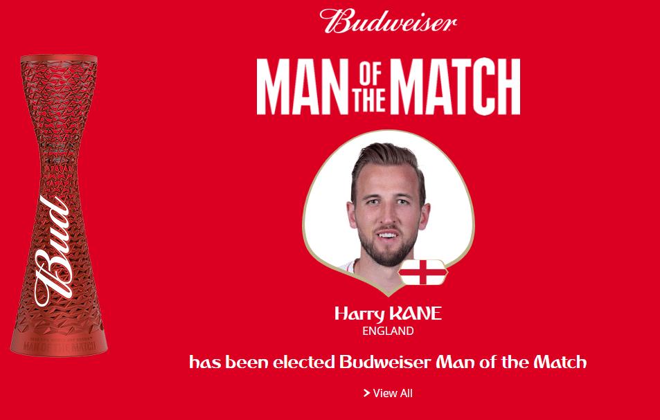 Autor do gol inglês no tempo regulamentar, Kane é eleito o melhor em campo de Inglaterra x Colômbia