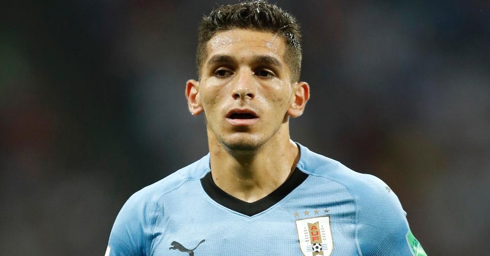 Lucas Torreira, do Uruguai, em ação no jogo contra Portugal