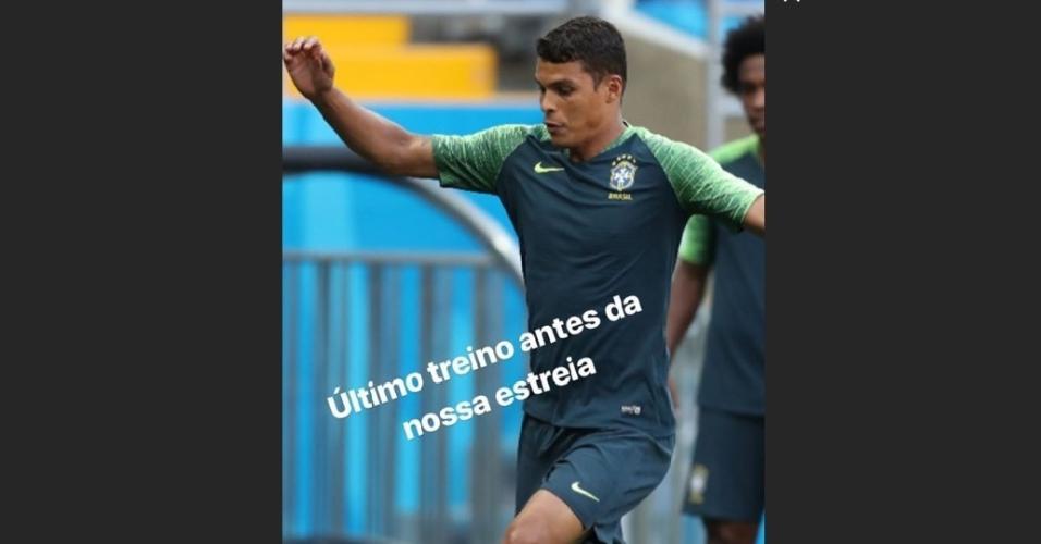 Thiago Silva no último treino do Brasil antes de estreia na Copa do Mundo