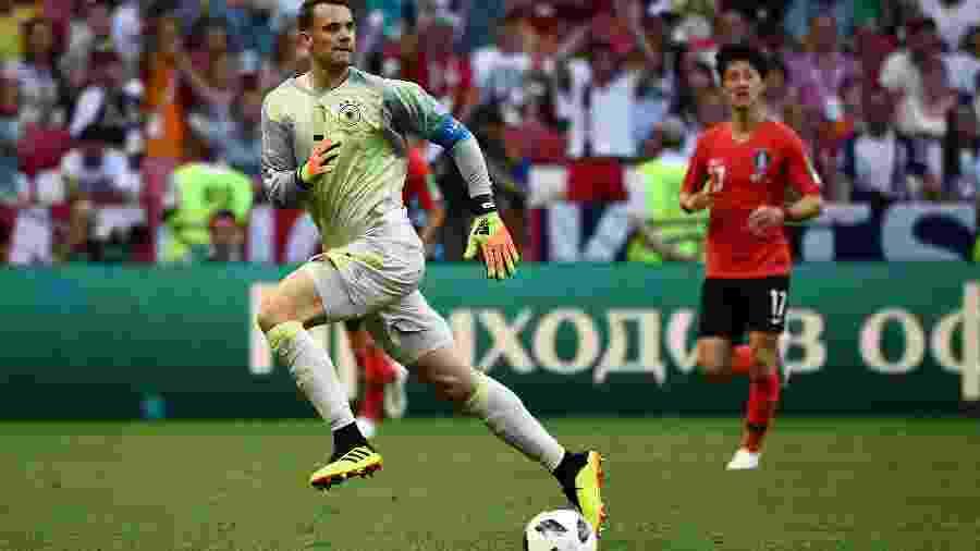 Manuel Neuer na partida contra a Coreia do Sul, que resultou na eliminação alemã na Copa - AFP PHOTO / Jewel SAMAD
