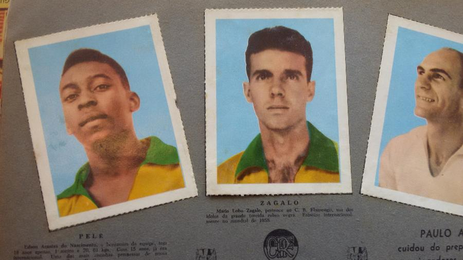 Álbum da Copa do Mundo de 1958: Pelé é a promessa que estreou no Santos aos 15 anos e Zagalo (sem o segundo L), o ídolo do Flamengo - Daniel Lisboa/UOL