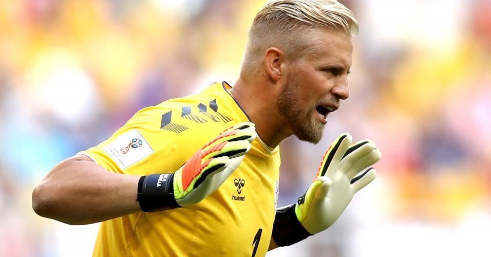 Kasper Schmeichel durante o jogo Dinamarca x Austrália