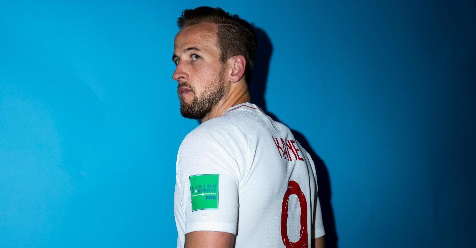 Harry Kane, atacante da Inglaterra, posa para a foto oficial da Copa