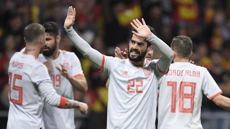 Isco comemora gol da Espanha contra a Argentina em amistoso - Gabriel Bouys/AFP