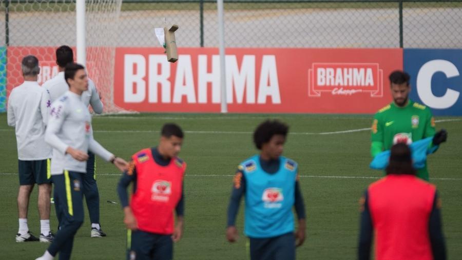 Drone invade o treino da seleção brasileira na Granja Comary; CBF apreendeu e vai entregar às autoridades - Pedro Martins/Mowa Press