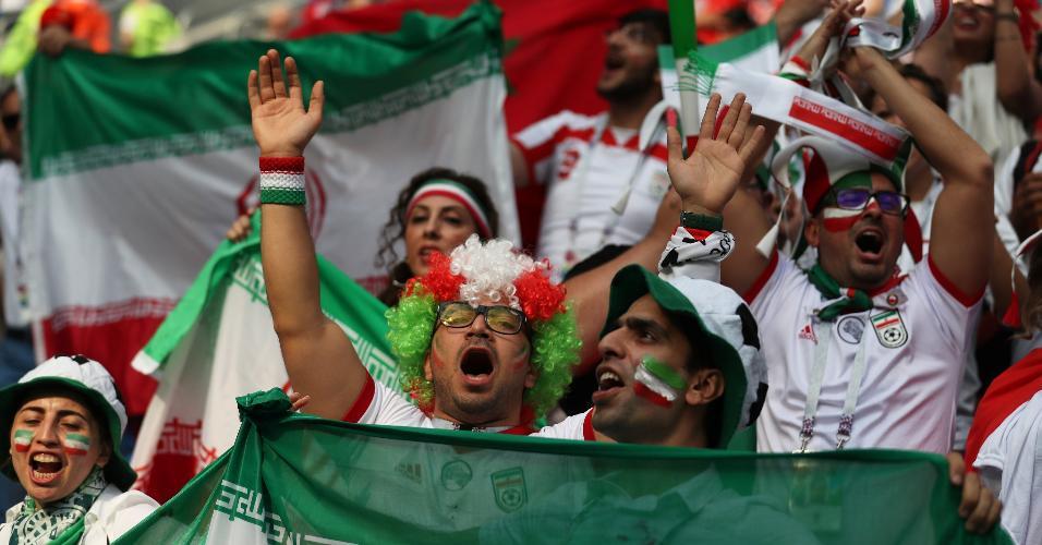 Torcida do Irã antes do duelo contra Marrocos pela Copa do Mundo da Rússia