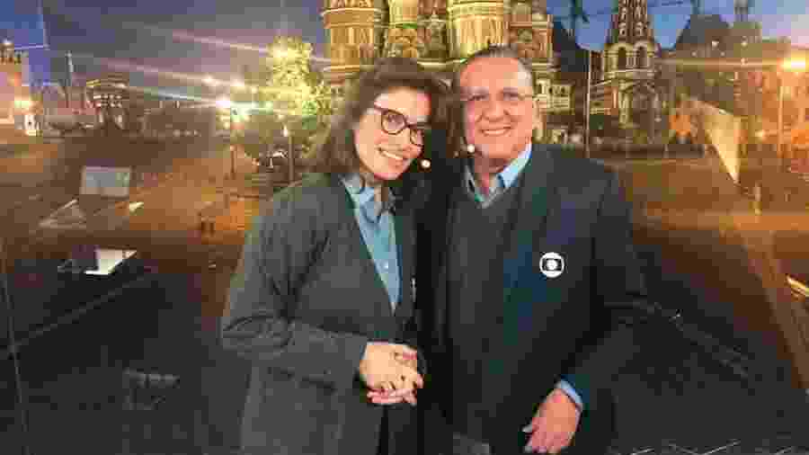 Galvão Bueno e Ranata Vasconcellos no estúdio da Globo em Moscou - Reprodução/Instagram de Galvão Bueno