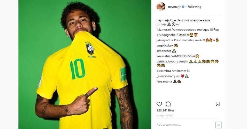 Neymar publica foto antes do jogo: