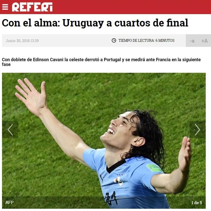Site uruguaio do jornal uruguaio El Observador fala sobre a vitória uruguaia sobre Portugal