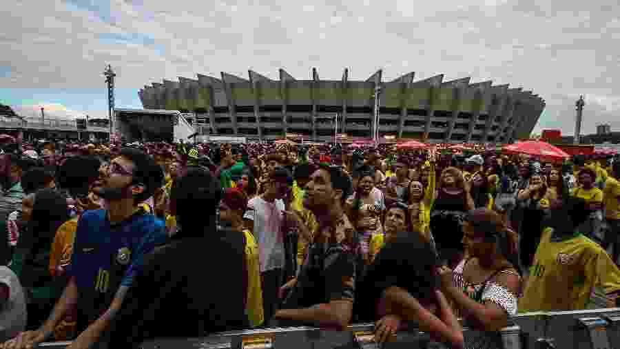 Festa na esplanada do estádio reuniu 30 mil torcedores, segundo estimativas da PM-MG - Rodney Costa/Eleven/Estadão Conteúdo