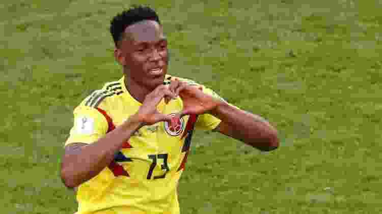 Mina comemora seu gol na vitória da Colômbia por 1 a 0 contra o Senegal - REUTERS/David Gray
