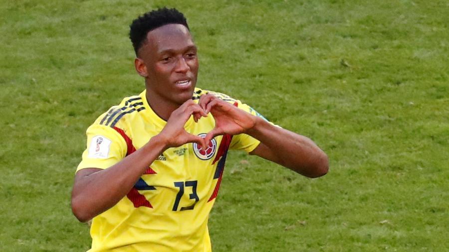 Yerry Mina comemora gol na vitória da Colômbia sobre Senegal - REUTERS/David Gray