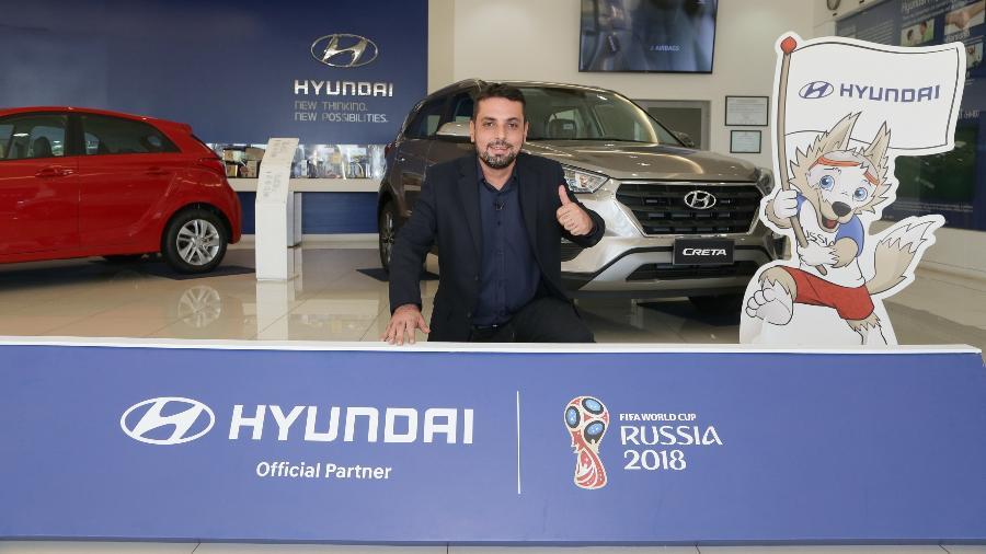 Leonardo Bressan, 37 anos, é o responsável pela frase que estará no ônibus do Brasil durante a Copa do Mundo - Hyundai/Divulgação