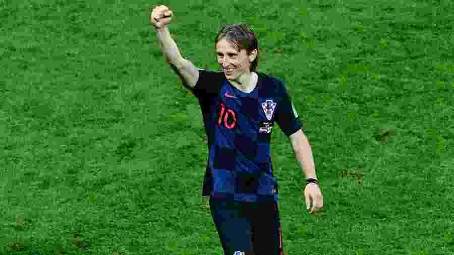 Luka Modric comemora após a vitória da Croácia sobre a Inglaterra na semifinal da Copa - Mladen Antonov/AFP