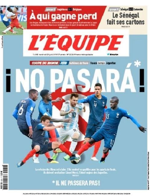 Edição desta sexta-feira (29) do jornal L'Equipe