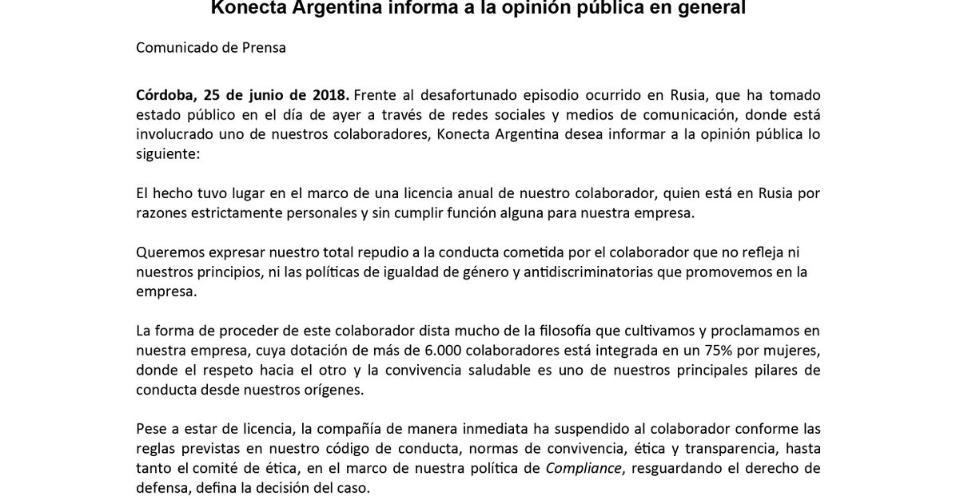Konecta Argentina comunicado