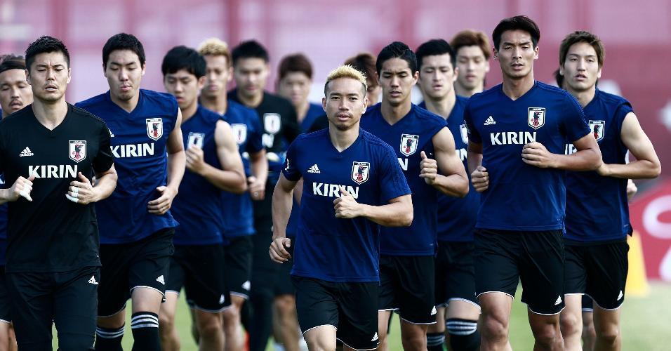 Jogadores do Japão treinam em Kazan antes de partida das oitavas de final da Copa do Mundo