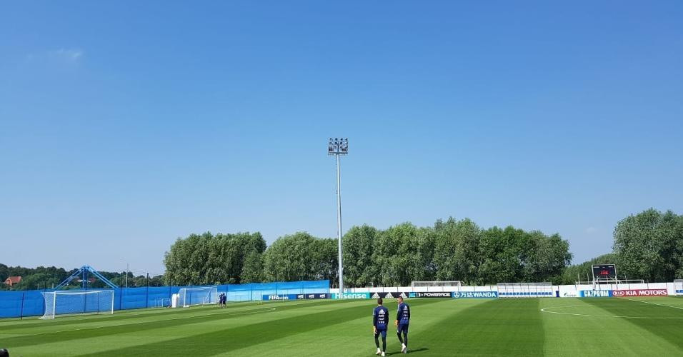 Placas que dão privacidade a jogadores argentinos em treino