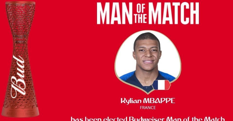 Kylian Mbappé é eleito o ?homem do jogo? em duelo entre França e Argentina