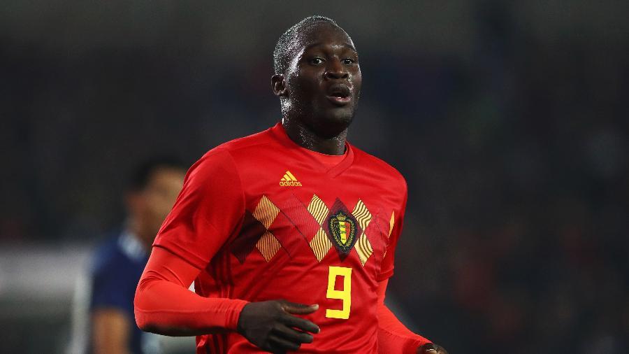 O atacante Romelu Lukaku, durante jogo da seleção da Bélgica contra o Japão - Dean Mouhtaropoulos/Getty Images