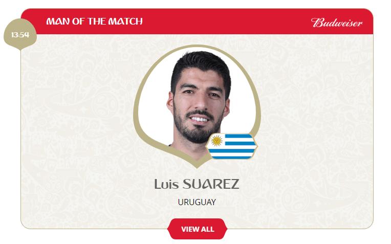 Suárez é o melhor do jogo no confronto entre Uruguai e Arábia Saudita