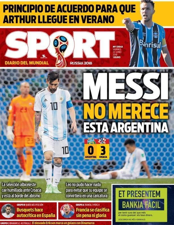 Jornal Sport defende Messi após derrota da Argentina