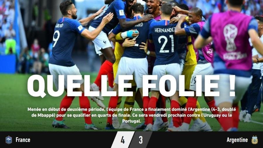 """L""""Equipe comemora vitória da França: """"Que loucura!"""" - Reprodução/L""""Equipe"""