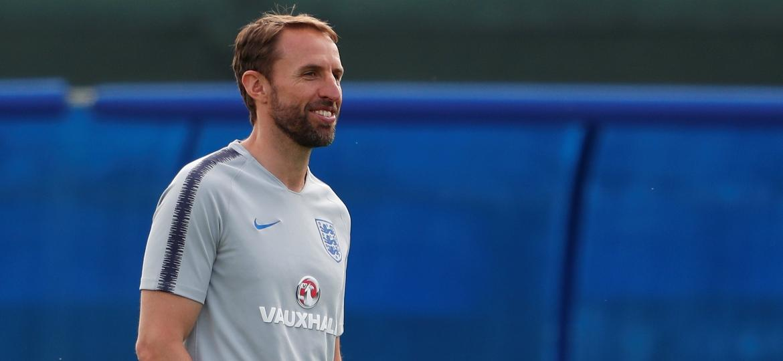 Gareth Southgate, durante treino da Inglaterra na Copa do Mundo - Lee Smith - 17.jun.2018/Reuters
