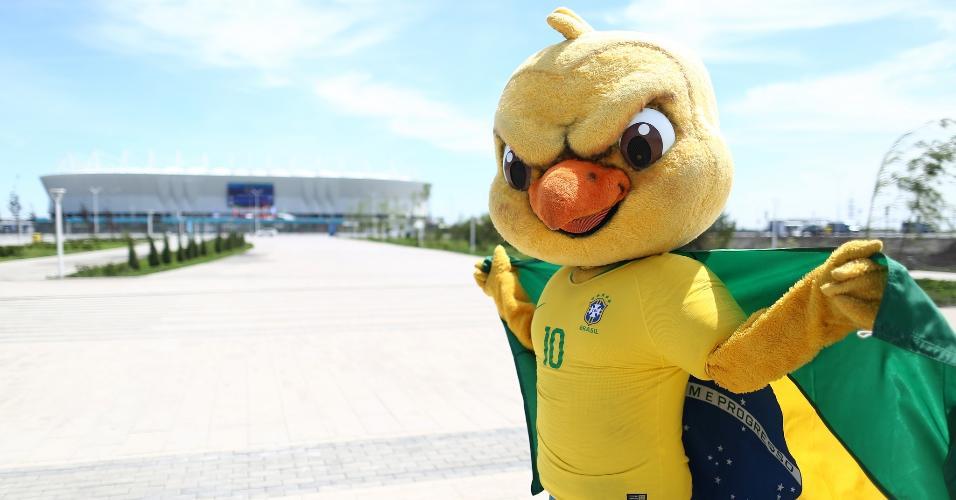 Canarinho em frente à Arena Rostov, palco de Brasil x Suíça na Copa da Rússia