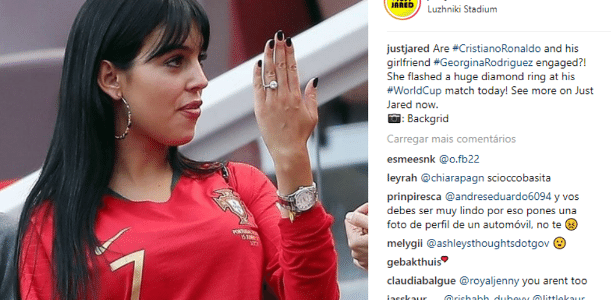 c932df022c Anel de namorada de CR7 chama atenção durante jogo de Portugal - UOL Copa  do Mundo 2018