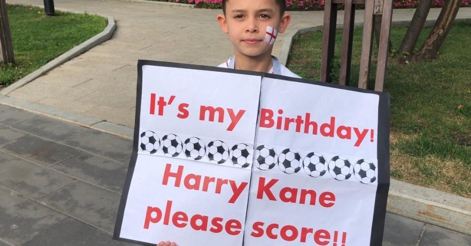É hoje! TJovem torcedor inglês pede de aniversário um gol de Kane na partida entre Inglaterra e Croácia