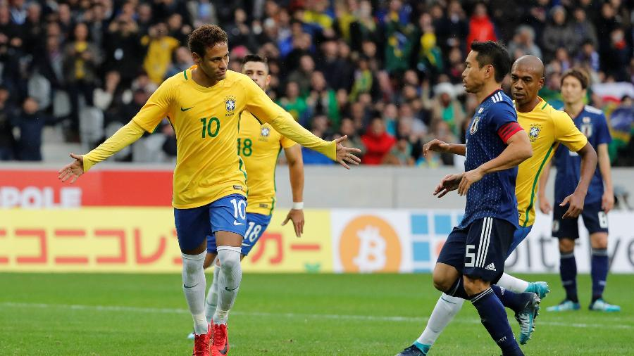 Neymar comemora primeiro gol do Brasil contra o Japão - Yves Herman/Reuters