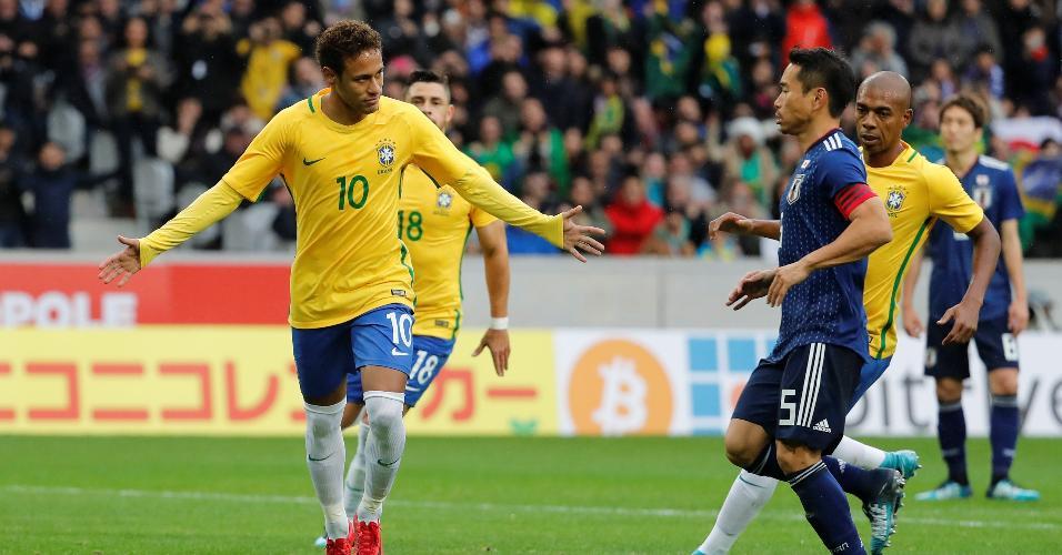 Neymar comemora primeiro gol do Brasil contra o Japão