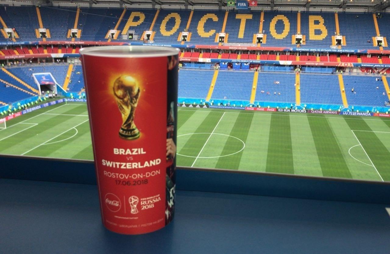 Copo oficial da partida entre Brasil x Suíça pela Copa do Mundo