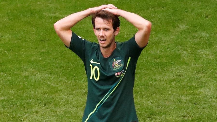 Robbie Kruse, durante empate entre Austrália e Dinamarca - REUTERS/David Gray