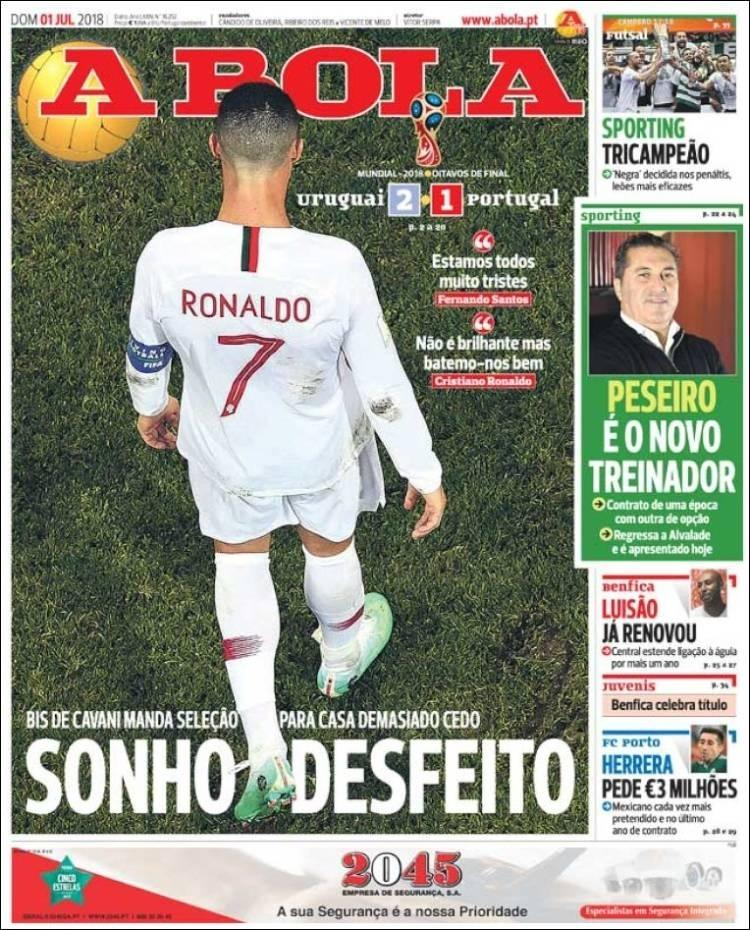 Reprodução Jornal A Bola do dia 1/7