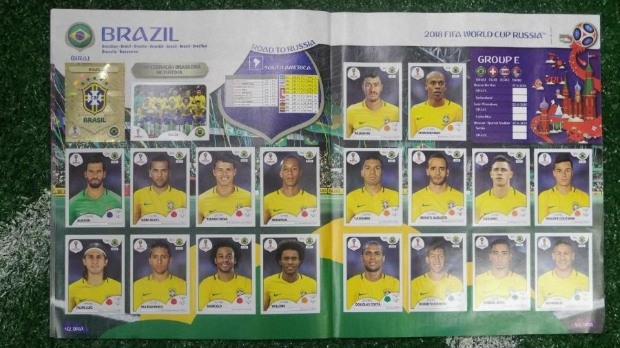 Páginas da seleção brasileira no álbum da Copa do Mundo da Rússia - Gabriel Carneiro/UOL