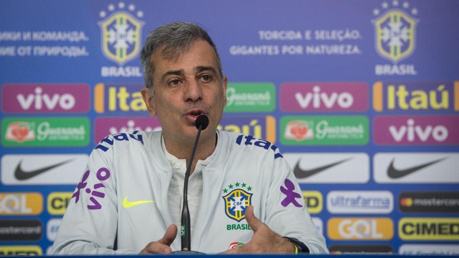 Fábio Mahseredjian, preparador físico da seleção brasileira, concede entrevista coletiva na Granja Comary - Pedro Martins / MoWA Press