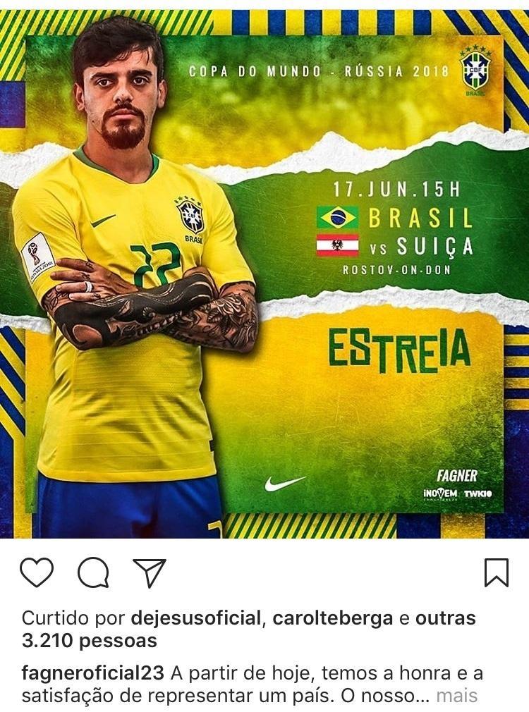 Fagner coloca a bandeira errada da Suíça no Instagram, mas depois corrige