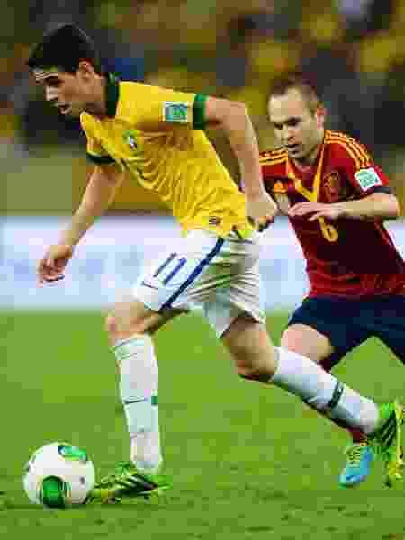 Oscar em ação pela seleção na final da Copa das Confederações de 2013 contra a Espanha - Laurence Griffiths/Getty Images