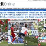 Manchete do jornal Daily Mail sobre 6 a 1 da Inglaterra - Reprodução