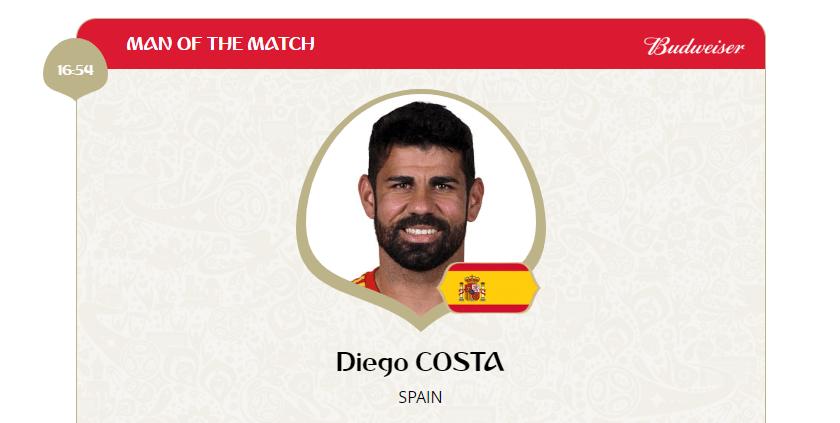 O atacante Diego Costa, autor do gol da Espanha, foi eleito o