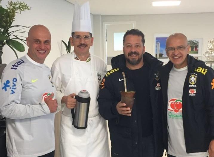Marquinhos, Jaime Maciel, Cléber Xavier e Marquinhos, membros da comissão técnica da seleção