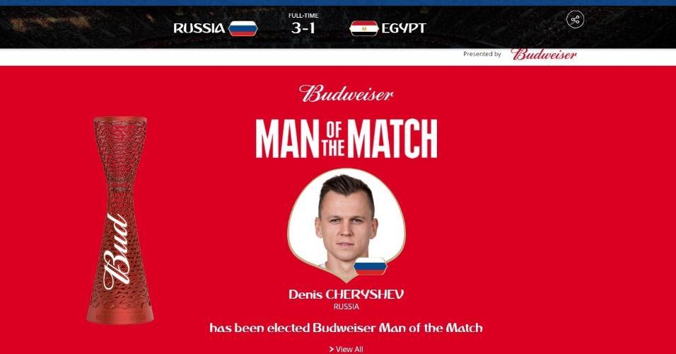 Denis Cheryshev é eleito o homem do jogo na partida entre Rússia x Egito