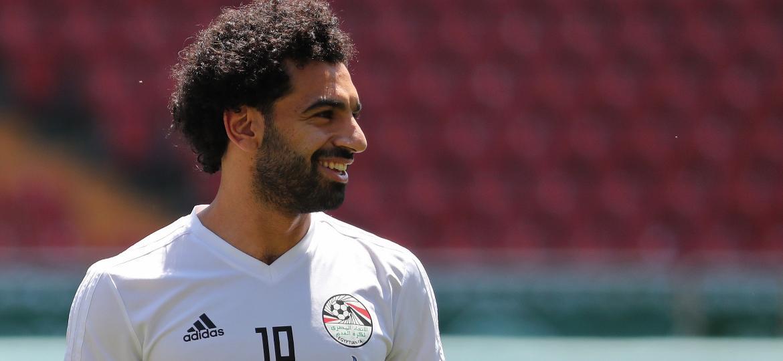 Mohamed Salah, durante treino do Egito - AFP PHOTO / KARIM JAAFAR