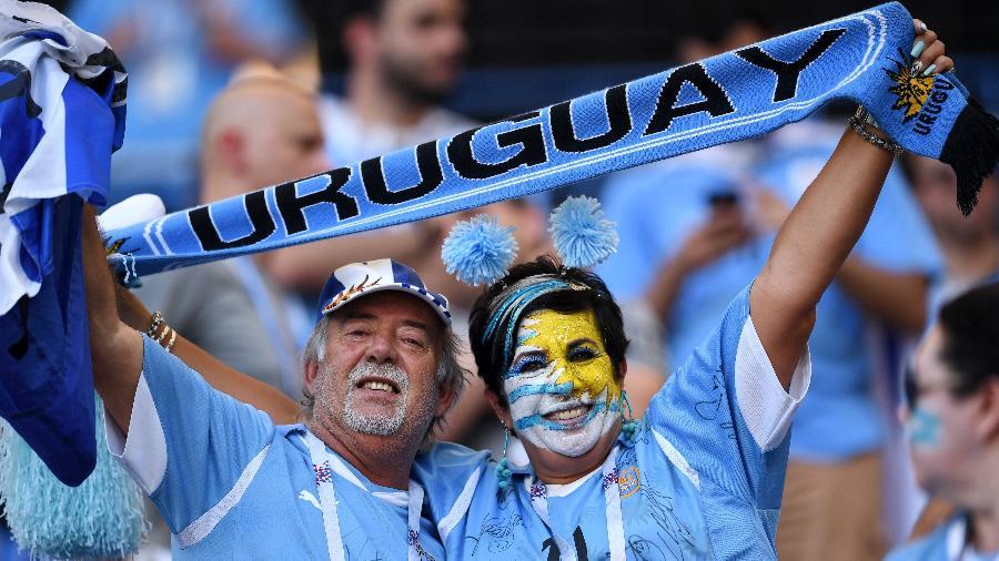 Torcedores do Uruguai na Arena Rostov para o jogo contra a seleção da Arábia Saudita - David Ramos/FIFA via Getty Images