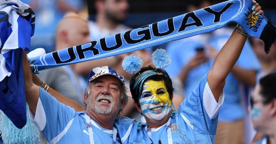 Torcedores do Uruguai na Arena Rostov para o jogo contra a seleção da Arábia Saudita